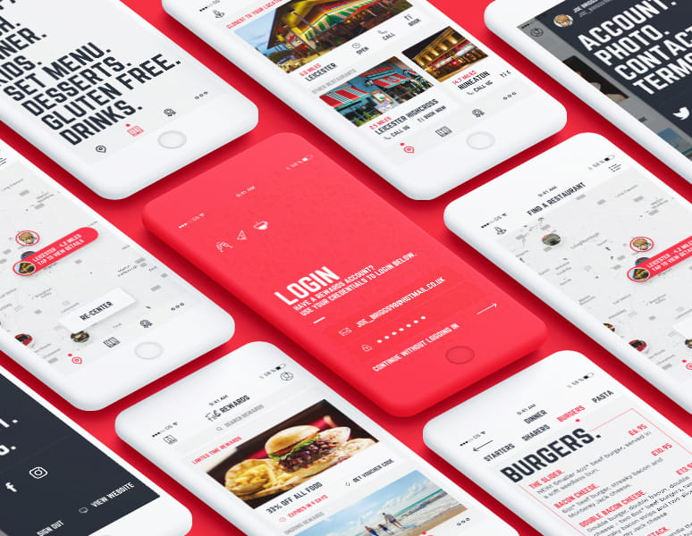 Frankie and Benny's Mobile App Design