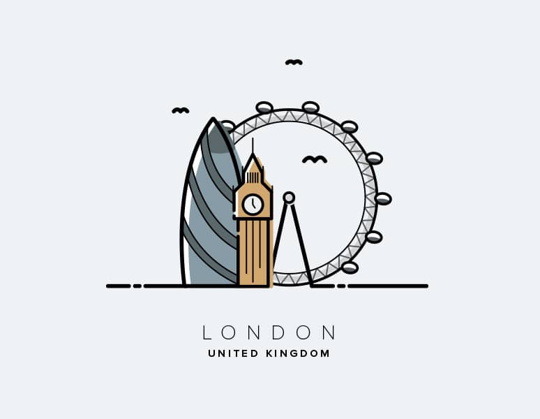 City Vectors of London, New York, Dubai