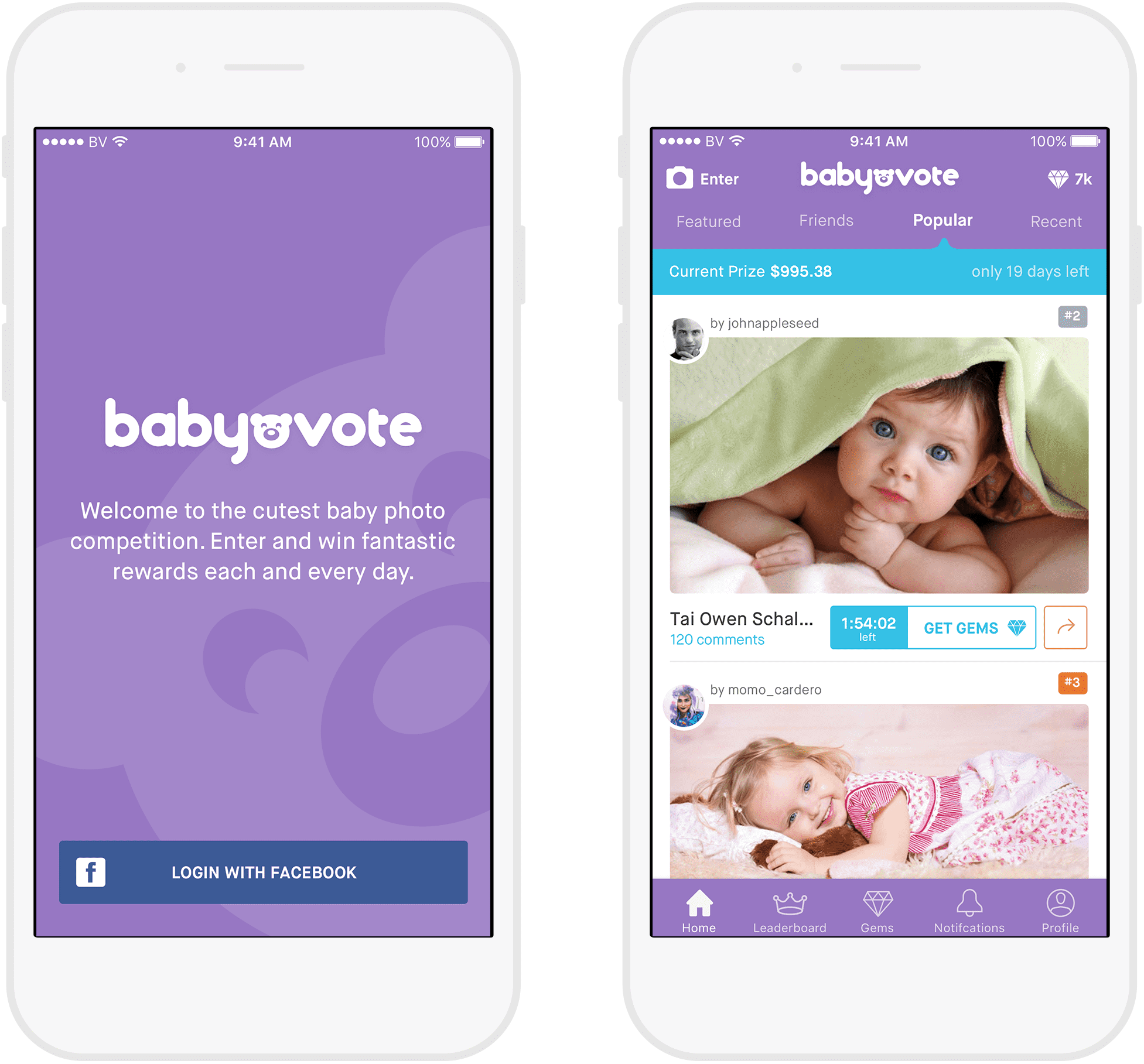 Babyvote Login and Favourite pages