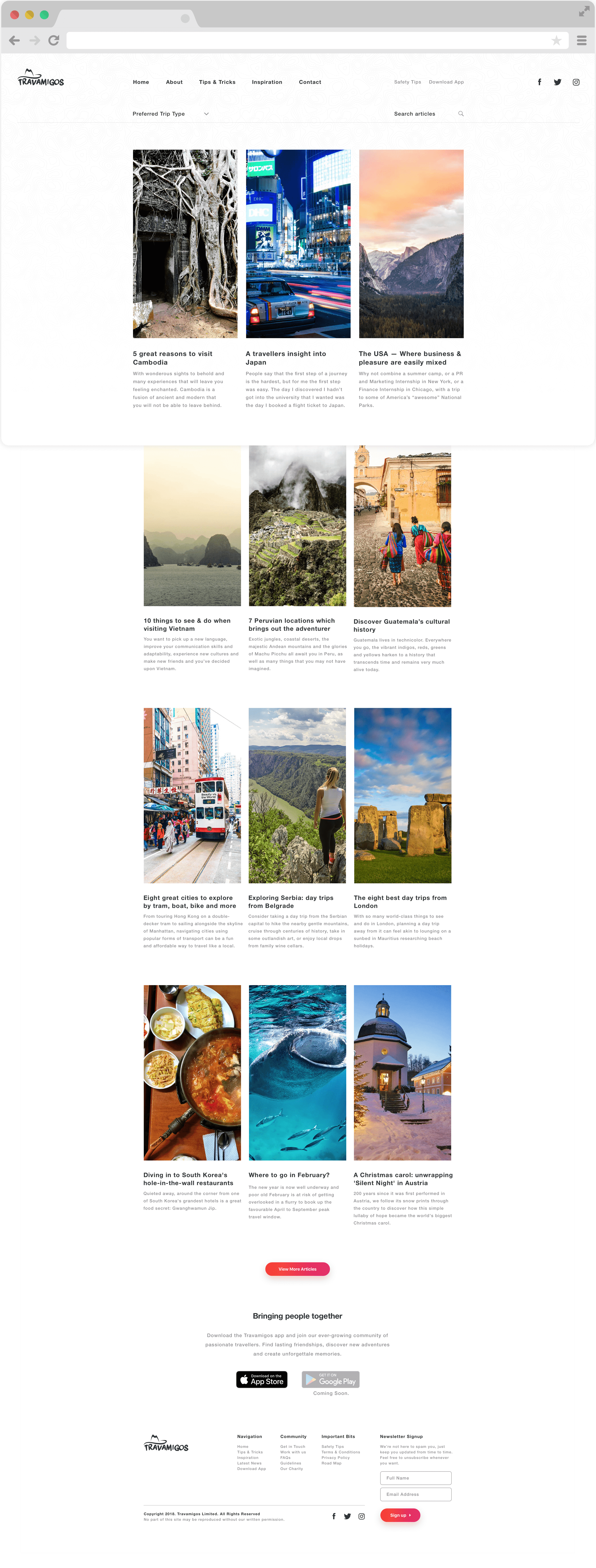 Travamigos Inspiration articles design