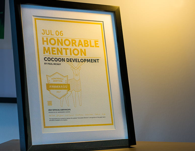 Honorable Mention by Awwwards for the Cocoon Website